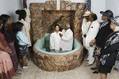 stock photo of baptism  - Adult baptism in church - JPG