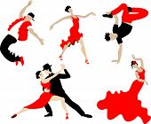 Set Of Dancing Different Dances Of People In Black And Red. Modern Dance. Latin Dances And Other Dan poster