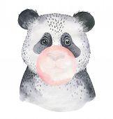 A Poster With A Baby Panda. Watercolor Cartoon Panda Tropical Animal Illustration. Jungle Exotic Sum poster