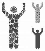 Hands Up Pose Mosaic Of Unequal Items In Variable Sizes And Color Hues, Based On Hands Up Pose Icon. poster