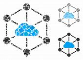 Cloud Links Composition Of Tuberous Parts In Different Sizes And Shades, Based On Cloud Links Icon.  poster
