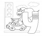 Letter Y And Funny Cartoon Unicorn. Animals Alphabet A-z. Coloring Page. Printable Worksheet. Handwr poster