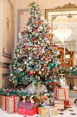 Classic Christmas New Year Decorated Interior Room New Year Tree. Christmas Tree With Silver And Red poster