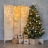Christmas Background - Christmas Tree, Heap Of Gifts And Folding Screen With Garland Lights poster