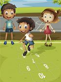 image of hopscotch  - Kids playing hopscotch in park  - JPG