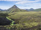 Volcanic Landscape Of Green Storasula Mountain With Lush Moss Between Emstrur And Alftavatn Camping  poster