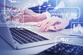 Hands Of Businesswomen Typing On Laptop And Using Smartphone In Blurry Office With Double Exposure O poster