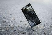 Mobile Phone Falling And Crashes On Asphalt, Broken Smartphone Flying Down To Ground. Smashed, Destr poster