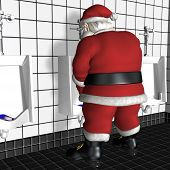 image of humbug  - Santa standing in a restroom using a urinal.