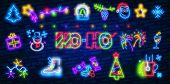 Happy New Year Neon Icons, Vector Neon Glow On Dark Background. Neon Icon New Year. Bright Signboard poster