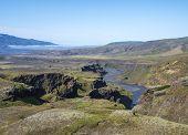 Icelandic Landscape With Blue Markarfljot River Canyon, Green Hills And Eyjafjallajokull Volcano Gla poster