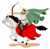 stock photo of glorify  - The men with a crown on his head goes on a horse and 