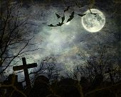 stock photo of graveyard  - Halloween background - JPG