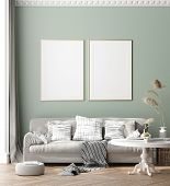 Mock Up Poster Frame In Modern Interior Background, Scandinavian Style, 3d Illustration poster