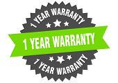 1 Year Warranty Sign. 1 Year Warranty Green-black Circular Band Label poster