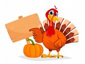 Happy Thanksgiving, Greeting Card, Poster Or Flyer For Holiday. Thanksgiving Turkey Pointing On Wood poster