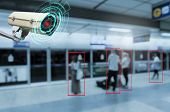 Iot Cctv, Security Indoor Camera Motion Detection System Operating With People Waiting Subway At Tra poster