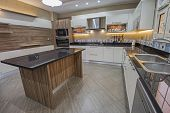 Interior Design Decor Showing Modern Kitchen With Cupboards In Luxury Apartment Showroom poster
