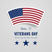 Veterans Day November 11 Congratulations Banner. Honoring All Who Served Greeting Card. Creative 3d  poster