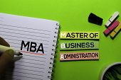 Mba. Master Of Business Administration Acronym On Sticky Notes. Office Desk Background poster