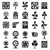Ventilator Propeller Icons Set. Simple Set Of Ventilator Propeller Vector Icons For Web Design On Wh poster