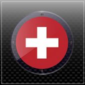 Bright Transparent Button With Flag Of Swiss. Swiss National Day Banner. Bright Illustration With Fl poster