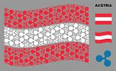 Waving Austrian Official Flag. Vector Ripple Currency Elements Are Scattered Into Mosaic Austrian Fl poster