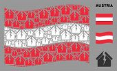 Waving Austrian State Flag. Vector Housing Crisis Design Elements Are Organized Into Conceptual Aust poster