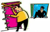 Cartoon scene of thief break into house