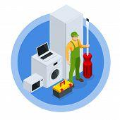 Isometric Repair Of Household Appliances Concept. Call Master Repair Of Household Appliances. poster