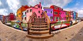 Panoramic View Of Canal With Colorful Houses And Bridge On The Famous Venetian Island Burano, Venice poster