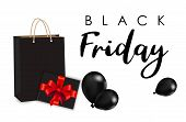 Celebration Balloon Sales Black Friday On A White Background. Balloons Black Friday. Black Balloons  poster