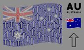 Waving Australia Official Flag. Vector Arrow Items Are Combined Into Geometric Australia Flag Compos poster