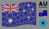 Waving Australia State Flag. Vector Gear Design Elements Are Combined Into Conceptual Australia Flag poster