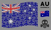 Waving Australia Official Flag. Vector Gas Mask Items Are Organized Into Mosaic Australia Flag Compo poster
