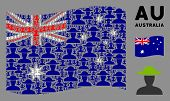 Waving Australia Official Flag. Vector Farmer Person Icons Are Combined Into Conceptual Australia Fl poster