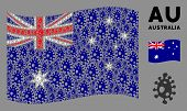 Waving Australia State Flag. Vector Infection Cell Pictograms Are Organized Into Geometric Australia poster