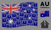 Waving Australia Flag. Vector Housing Crisis Design Elements Are Placed Into Mosaic Australia Flag I poster