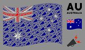 Waving Australia Official Flag. Vector Alert Megaphone Pictograms Are Placed Into Conceptual Austral poster