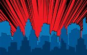 Comic Cityscape. Retro Urban Silhouette Of City Buildings For Art Book Comics With Light Effects Vec poster