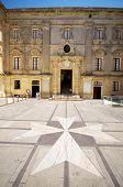picture of maltese-cross  - tile stone Maltese cross entry to vilhena palace mdina Malta national museum of natural history - JPG