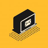 Isometric Laptop With Envelope And Open Email On Screen Icon Isolated On Yellow Background. Email Ma poster