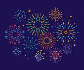 Colorful Fireworks. Festive Christmas Pyrotechnics Firecrackers. Xmas Winter Party Festival Salutes  poster