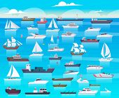 Ship In Sea. Sailing Boats And Passenger Cruise Ship Travel In Ocean Cargo Submarine And Yacht Vecto poster