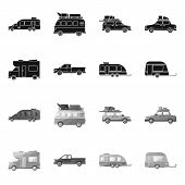 Isolated Object Of Auto And Journey Sign. Collection Of Auto And Trailering Stock Symbol For Web. poster