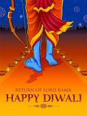 Illustration Of Lord Rama Coming Back On Happy Diwali Holiday Background For Light Festival Of India poster