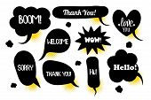 Comic Text Speech Bubble Pop Art Style Halftone Background. Set Black Cloud Talk Speech Bubble. Isol poster