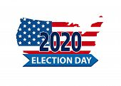 Vote 2020 In Usa, Banner Design. American Flag Patriotic Background Election Day. Usa Debate Of Pres poster