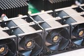 A Row Of Several Coolers Cooling On The Motherboard Of A Computer Server, Technology And Communicati poster