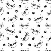 Seamless Pattern With Meow Lettering, Whiskers, Ears, Smile And Paw Prints. Black Hand Drawing On Wh poster